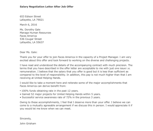 after job offer salary negotiation letter