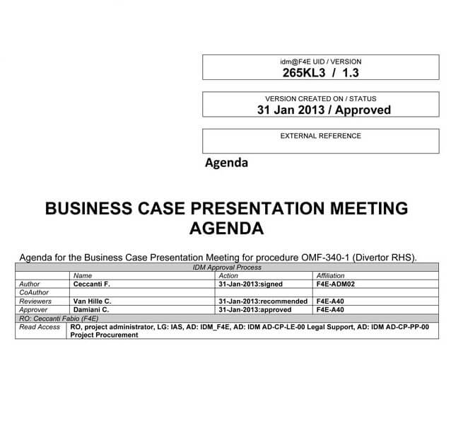 Presentation Agenda Sample