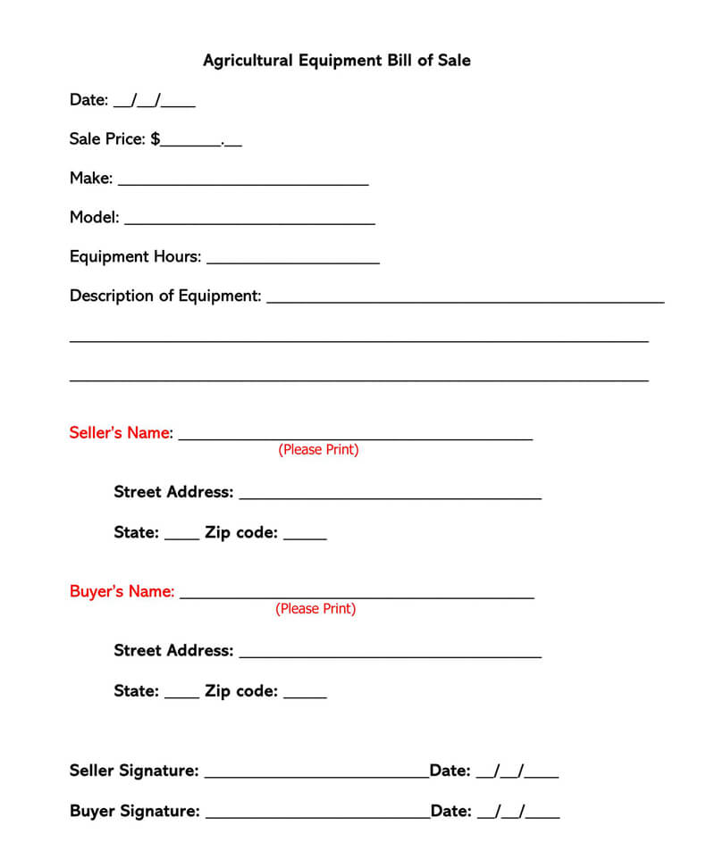 Equipment Bill Of Sale Free Forms Templates Word Pdf