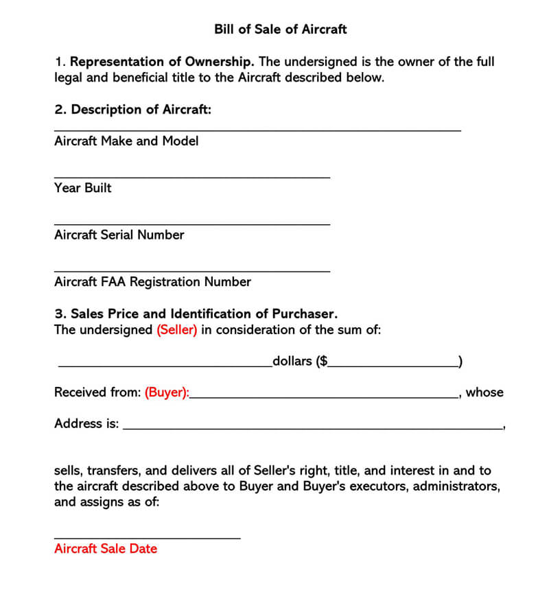 Aircraft Bill of Sale Form 01