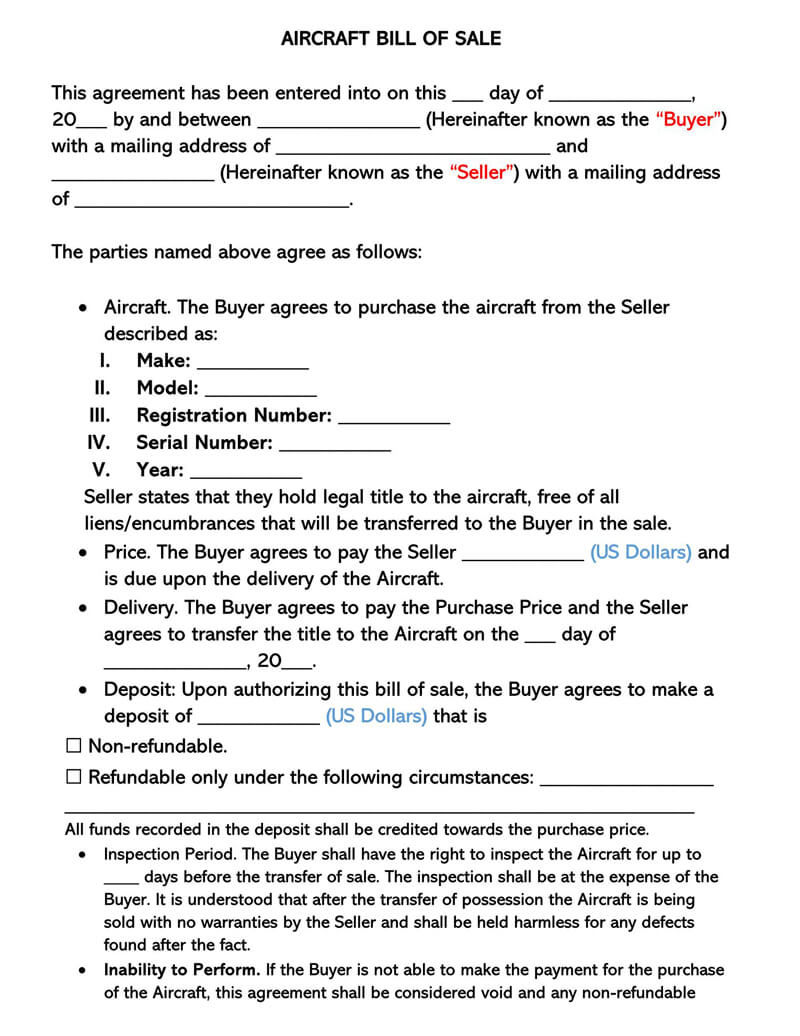 Aircraft Bill of Sale Form 02