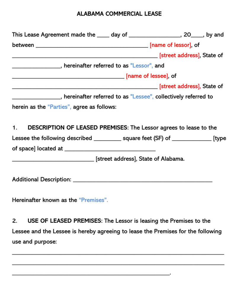 Alabama Commercial Rental Lease Agreement