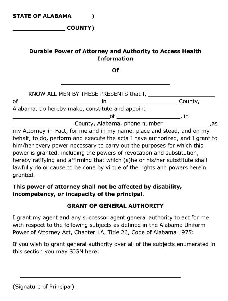 Alabama Durable POA Form