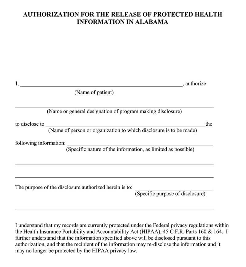 Alabama HIPAA Release Form