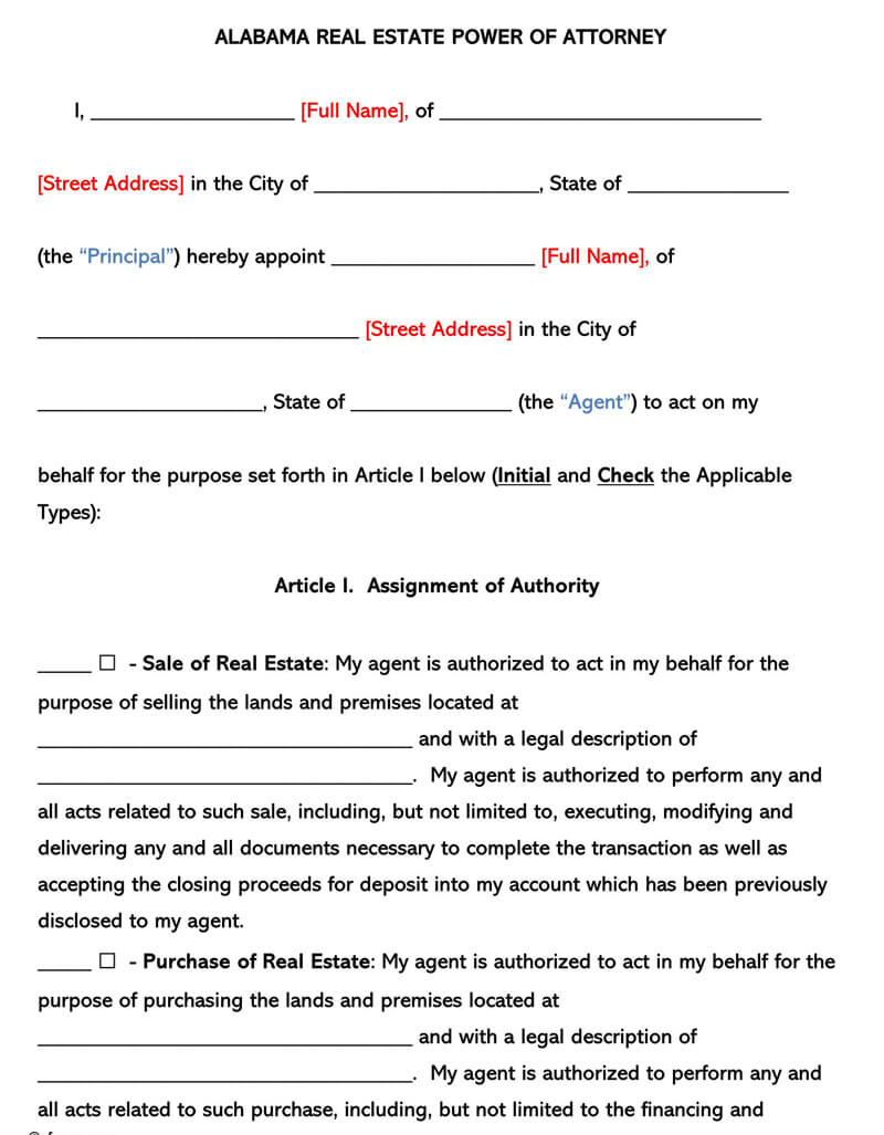 power of attorney form real estate  Free Real Estate Power of Attorney Forms (by State) - Word|PDF