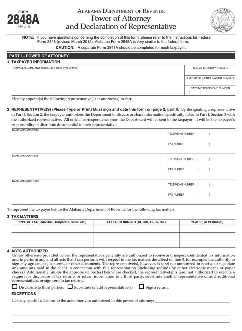 Alabama State Tax POA (Form 2848A)