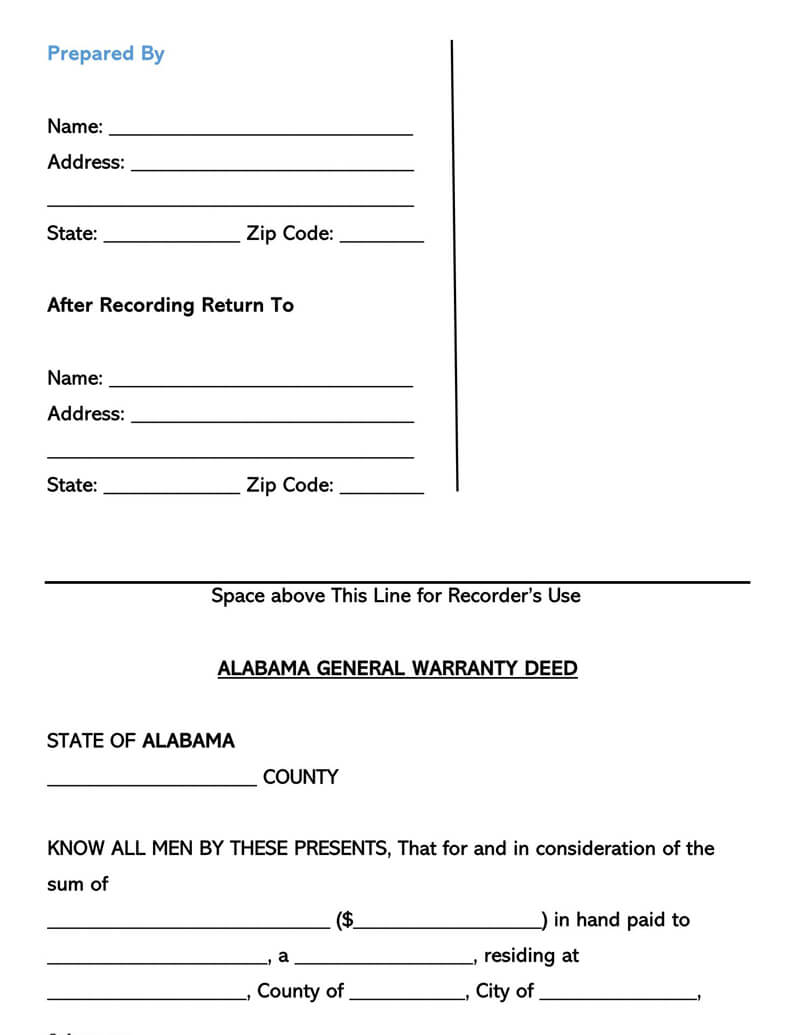 Alabama Warranty Deed Form