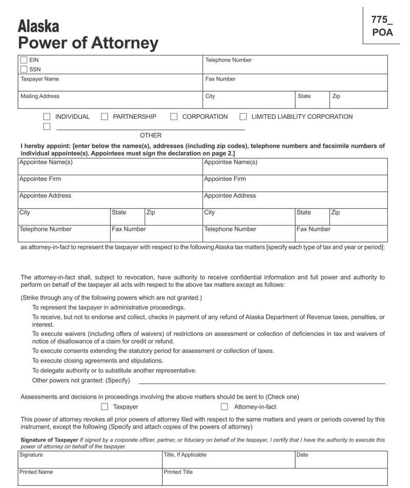 Alaska State Tax POA (Form POA 775)