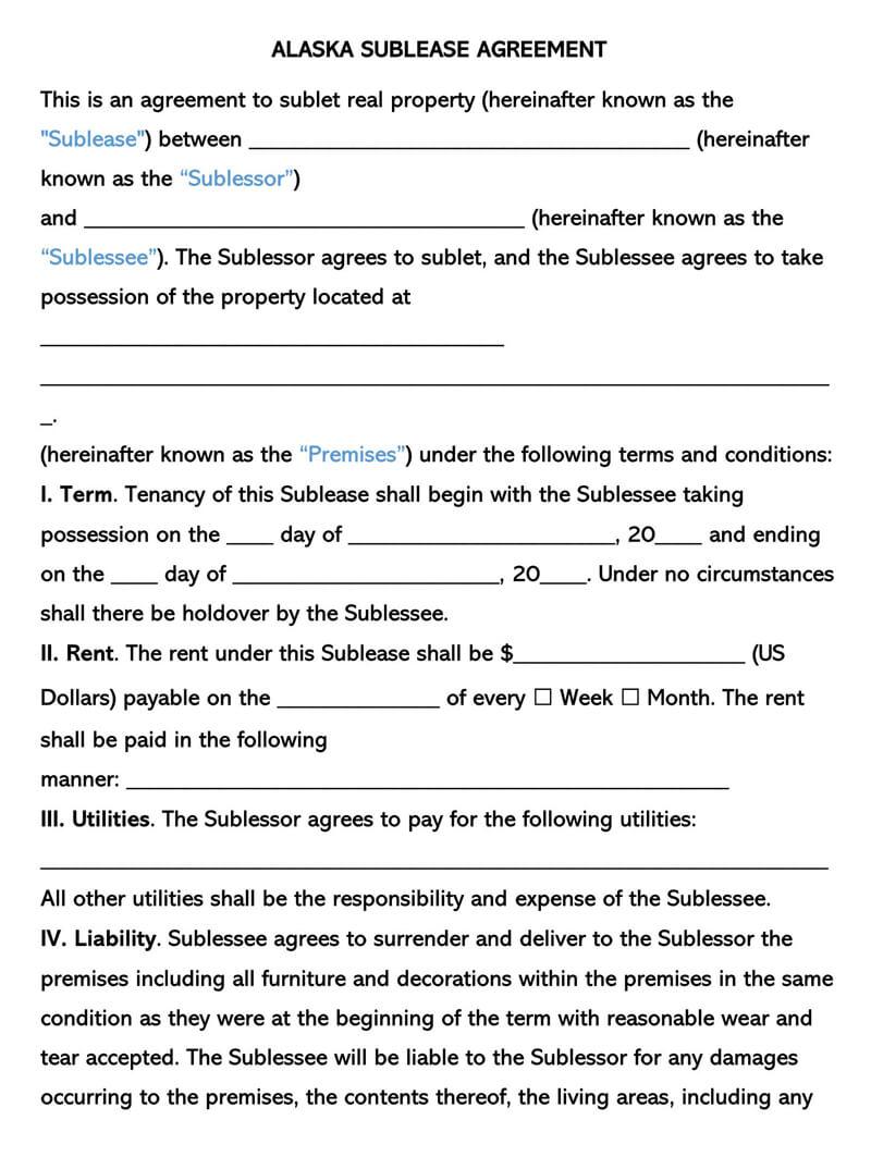 Alaska SubLease Agreement Template