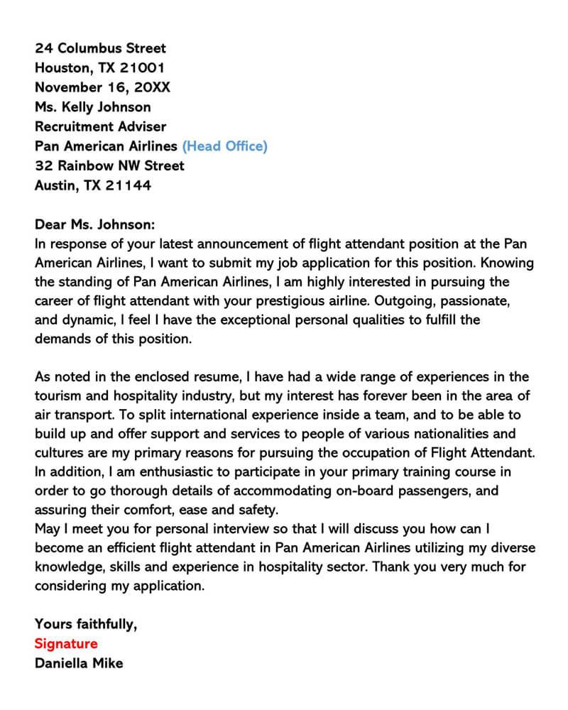 American Airlines Flight Attendant Letter 01