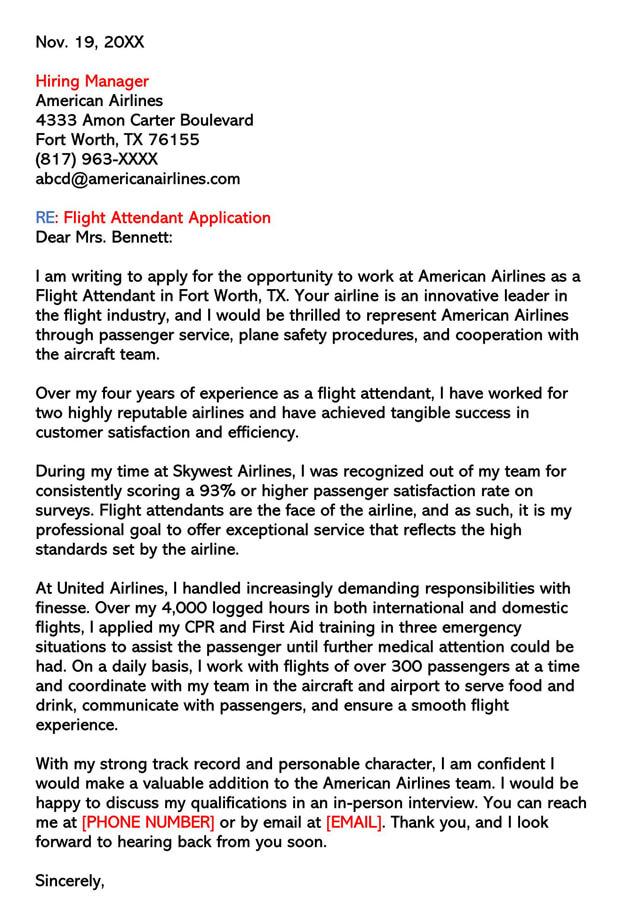 American Airlines Flight Attendant Letter