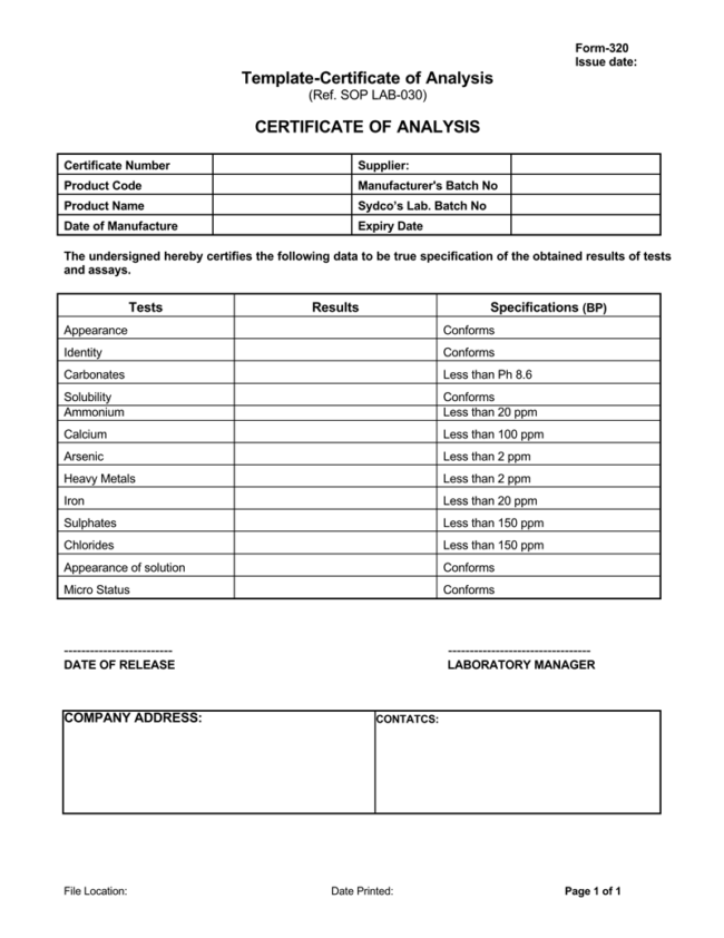 Certificate of Analysis Templates 5 Samples for Word and PDF – Certificate of Analysis Template
