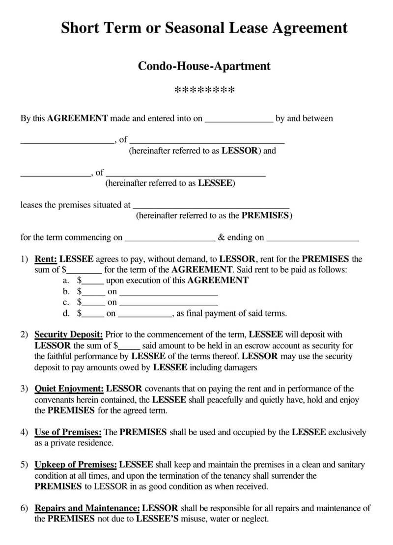 Apartment-Short-Term-Lease-Agreement Sample Application Form For Apartment Rental on