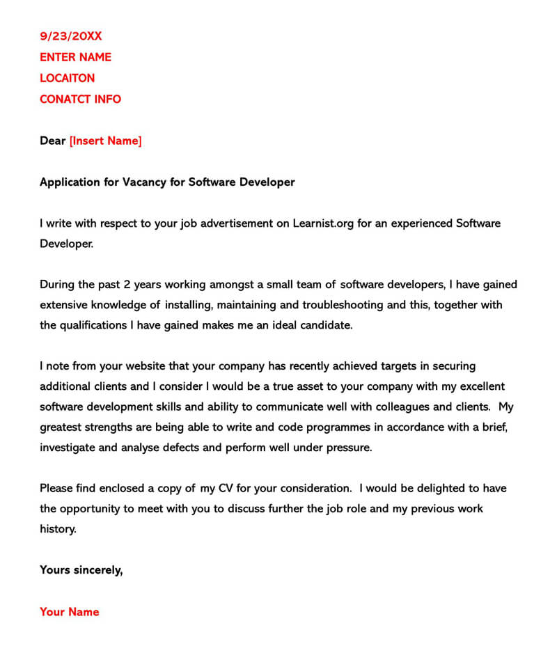 Application Letter for Vacancy for Software Developer