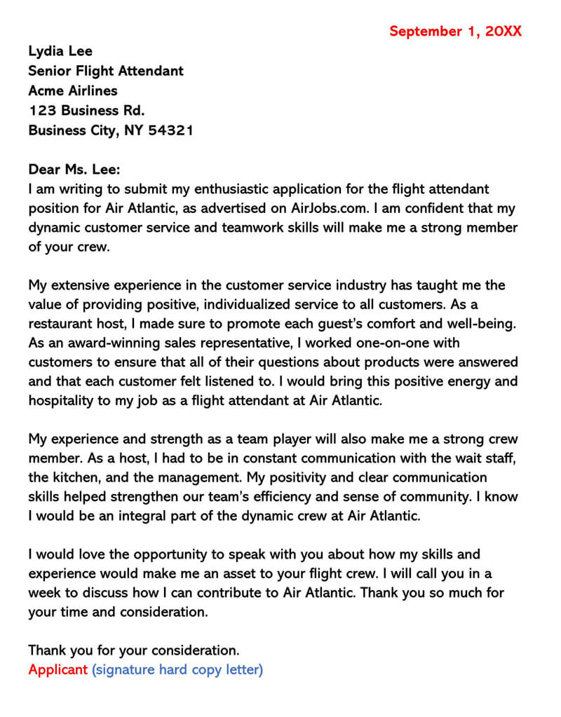 Application for Flight Attendant
