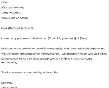 Appointment Cancellation Letter Format