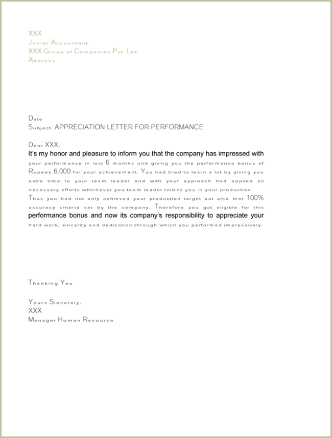appreciation letter for good performance