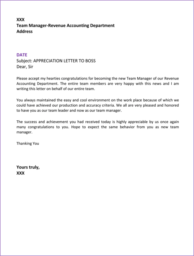 letter of appreciation to employees