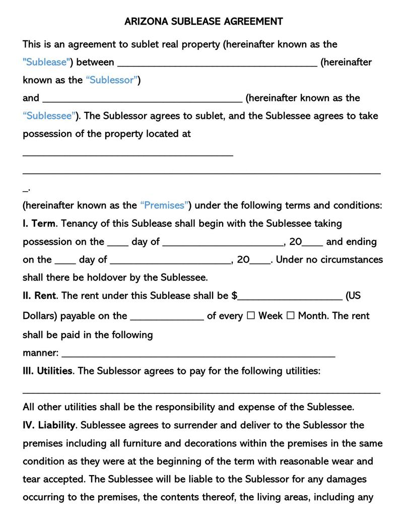 Arizona SubLease Agreement Template