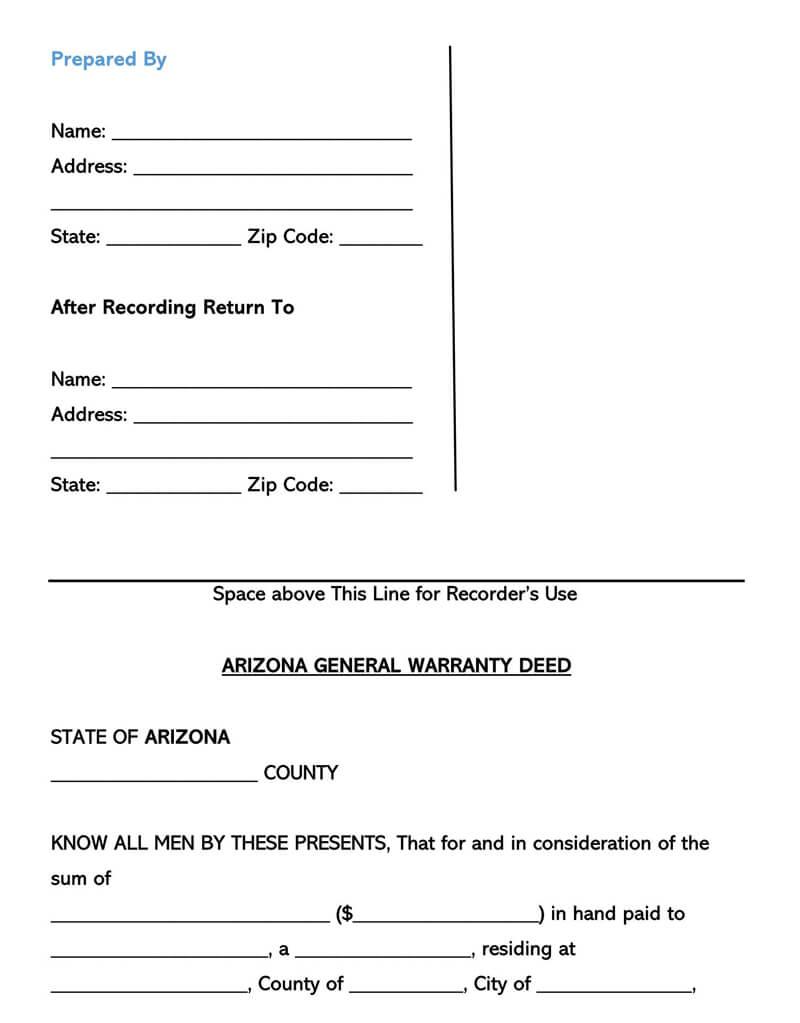 Arizona Warranty Deed Form