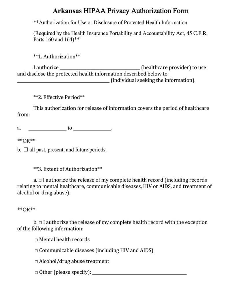 Arkansas HIPAA Medical Release Form
