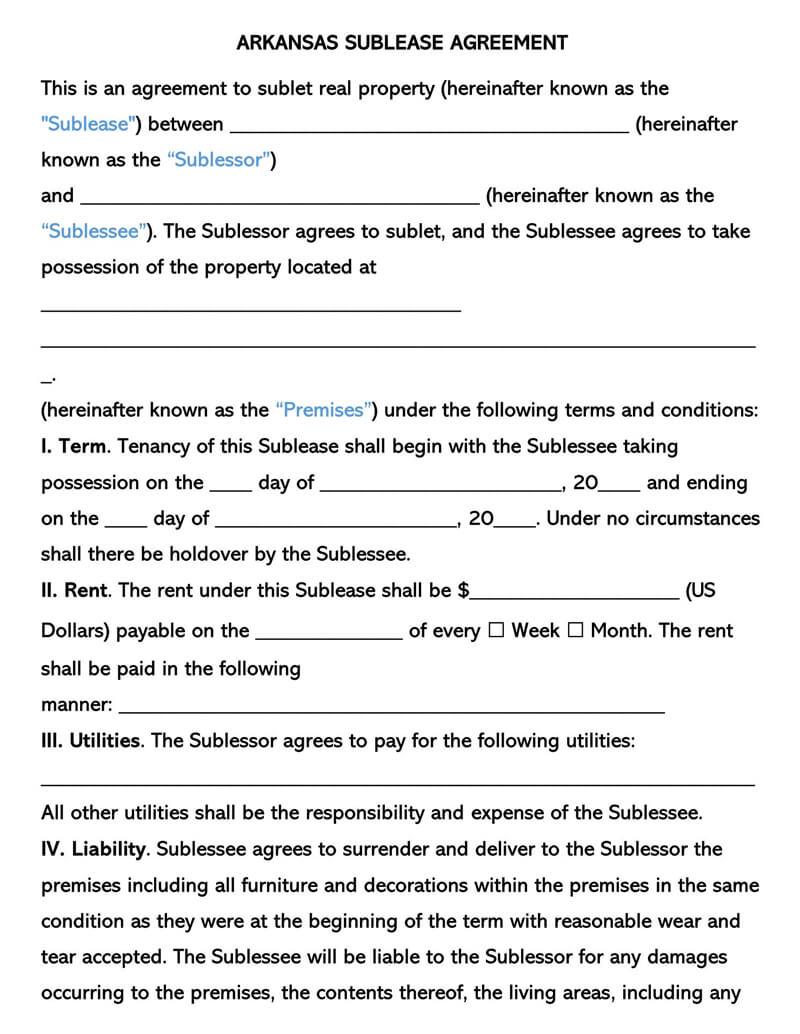 Arkansas SubLease Agreement Template