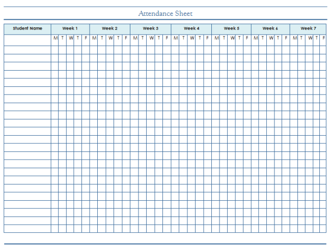 Attendance sheet template for students and employees for School register template spreadsheet