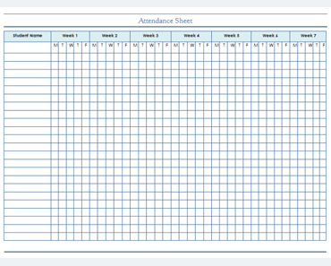 image regarding Attendance Sheet Printable known as Attendance Sheet Template - For Learners and Staff