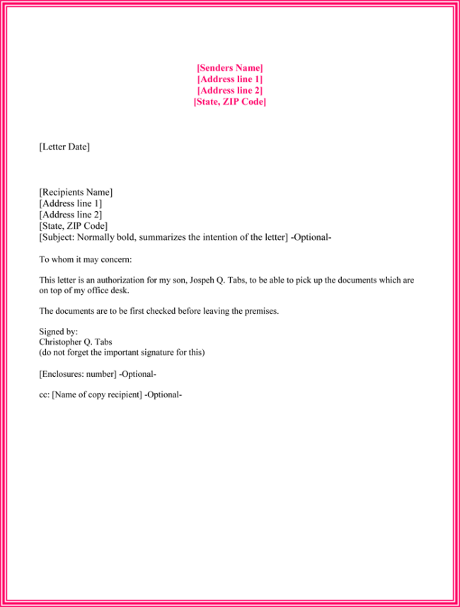 Authorization Letter Sample To Collect Document