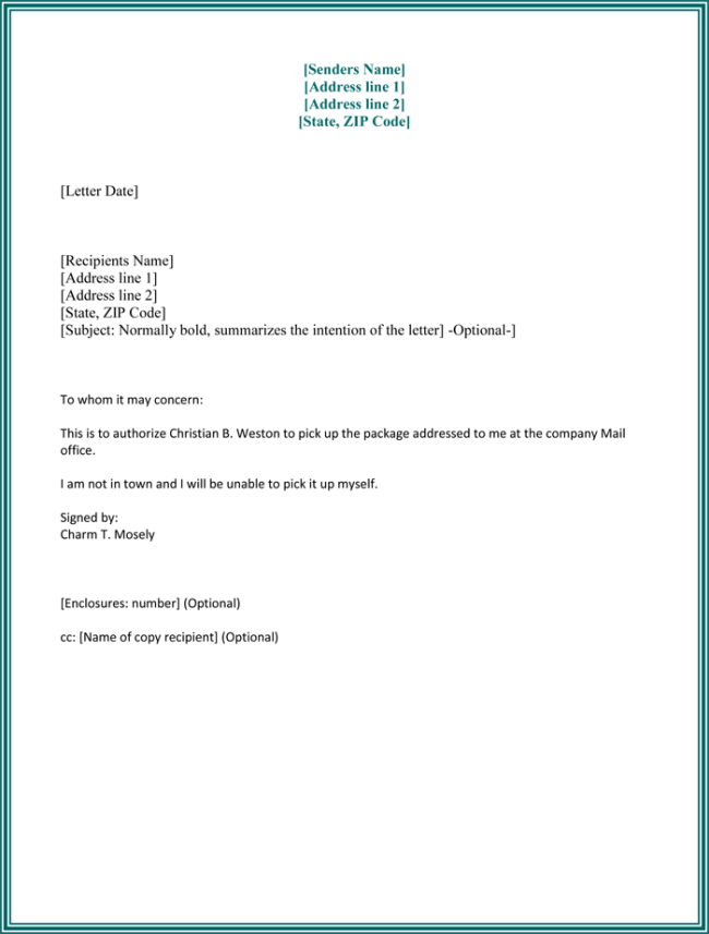 signed document template - 25 best authorization letter samples formats templates