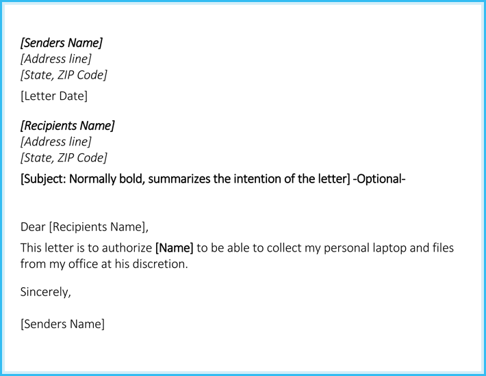Authorization Letter of Collection Format