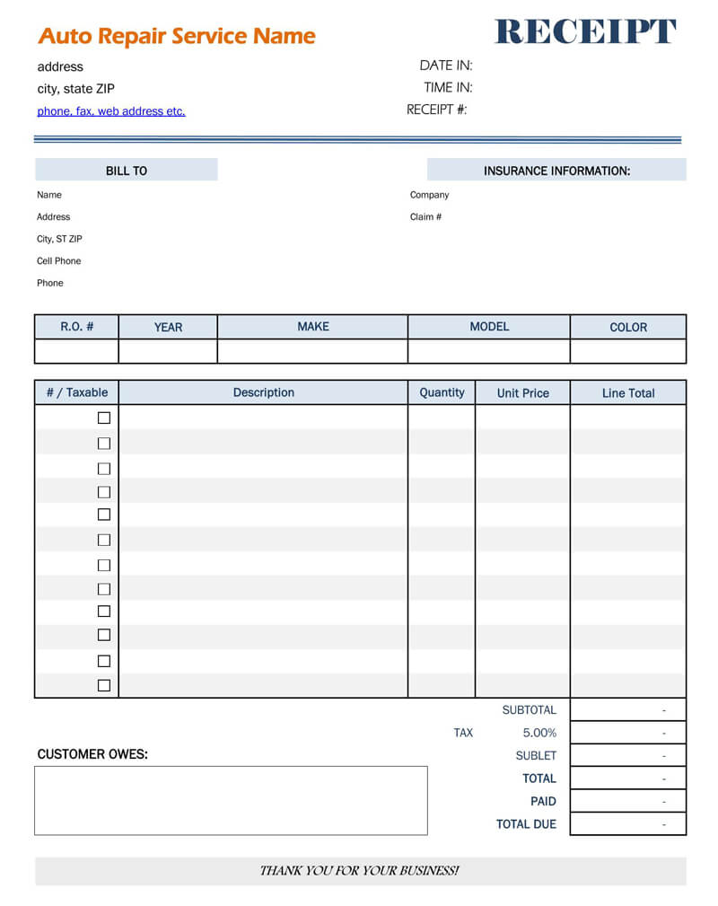 Auto Body Repair Receipt Template