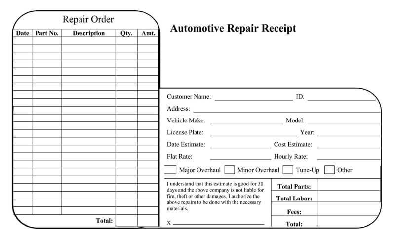 Free Car Vehicle Repair Receipt Templates Word Pdf