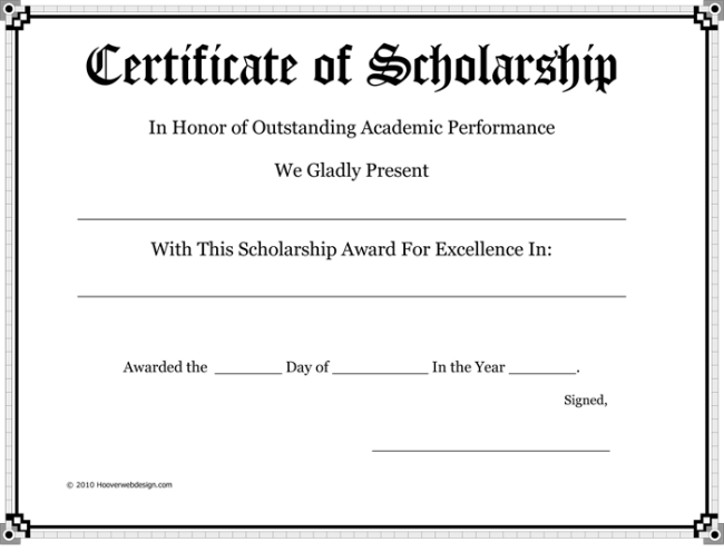 Award Certificate Of Scholarship  Award Certificate Template For Word