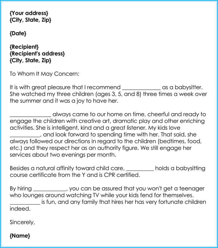 babysitting reference letter samples
