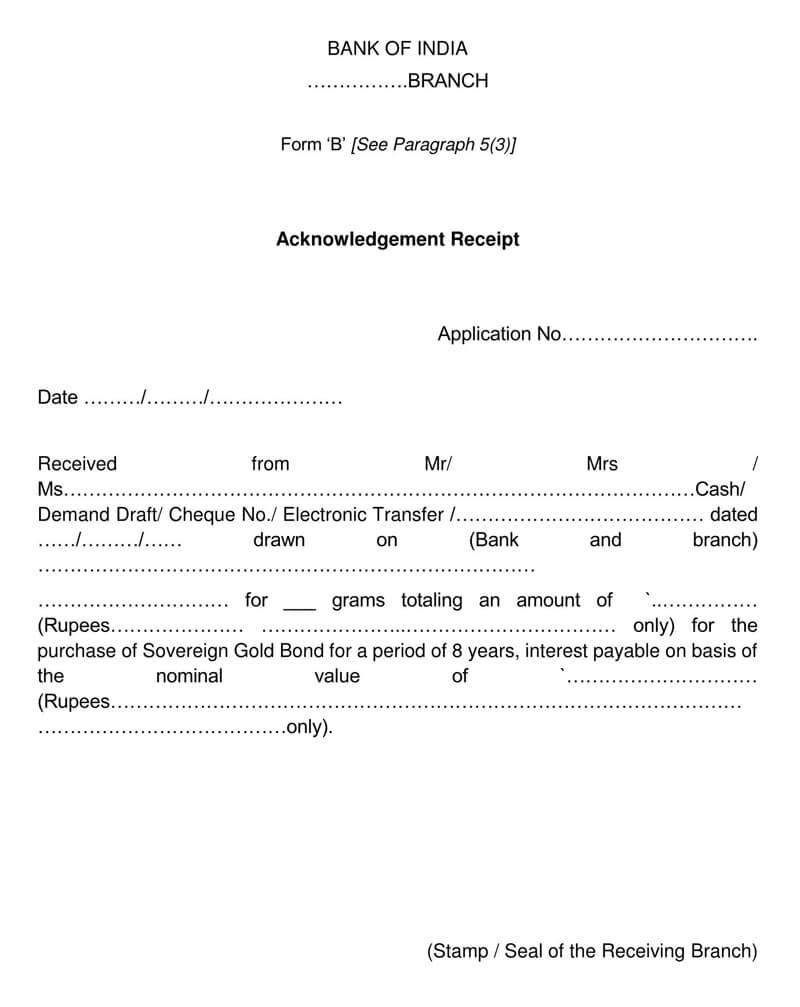 Bank Acknowledgement