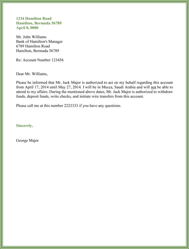 High Quality Bank Authorization Letter Sample