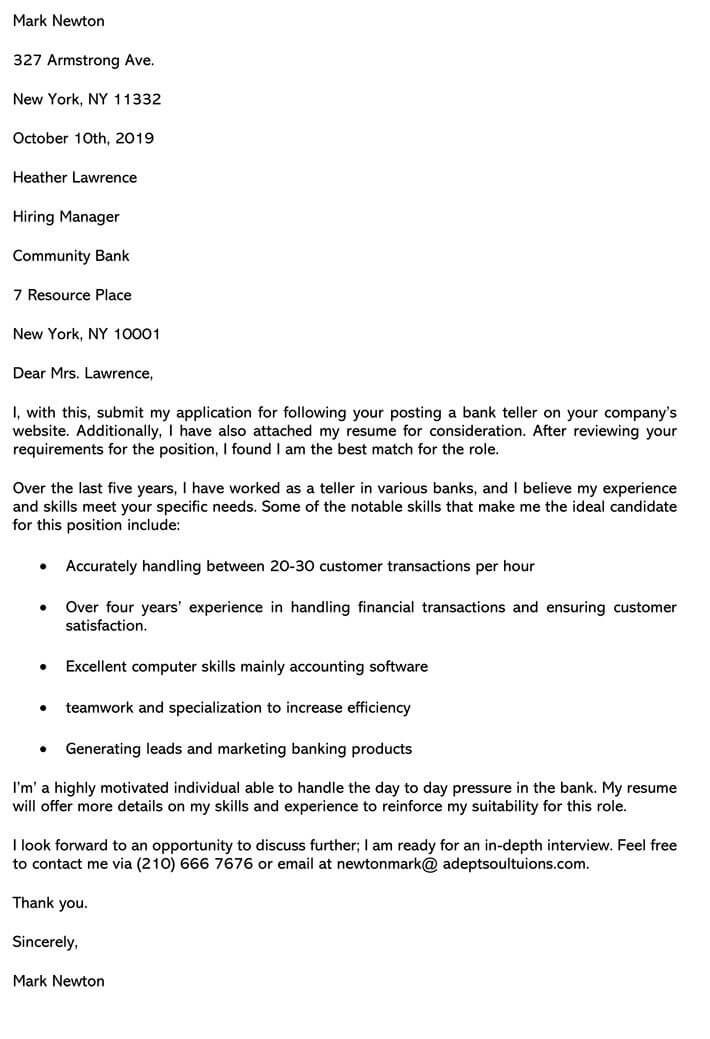 Best Bank Teller Cover Letter Sample Amp Email Example