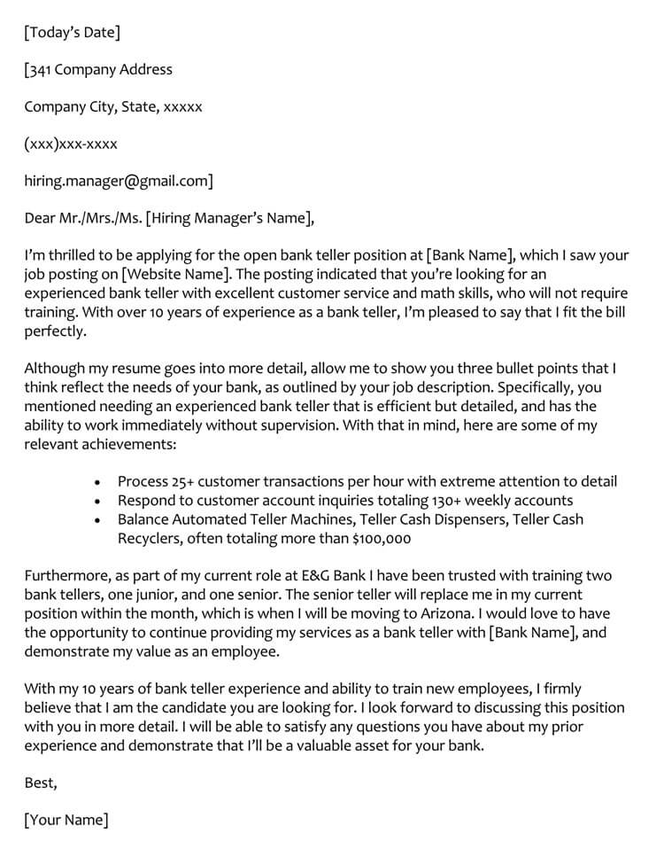 Bank Teller Cover Letter Sample
