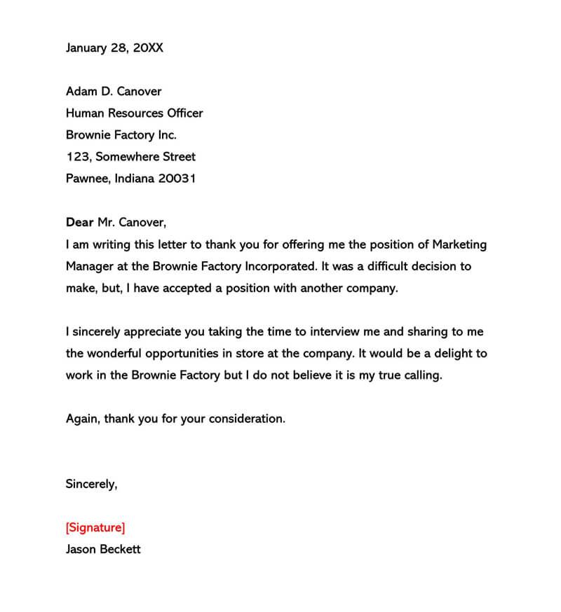 Basic Polite Rejection Letter 08