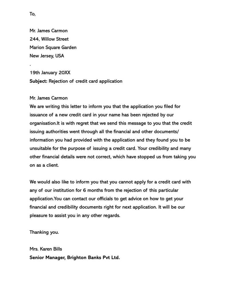 Basic Polite Rejection Letter 10