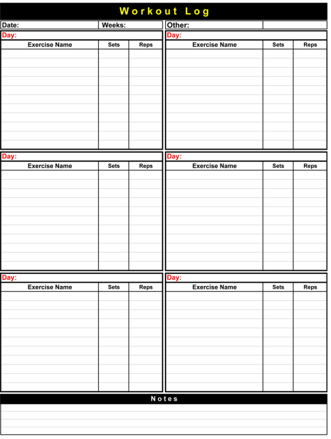 Basic Workout Logs Template For Pdf