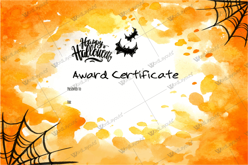 halloween award certificates