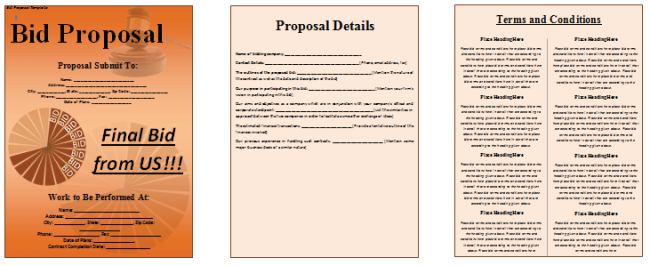 Bid Proposal Template 6 Best Proposal Examples – Proposal Template for Word