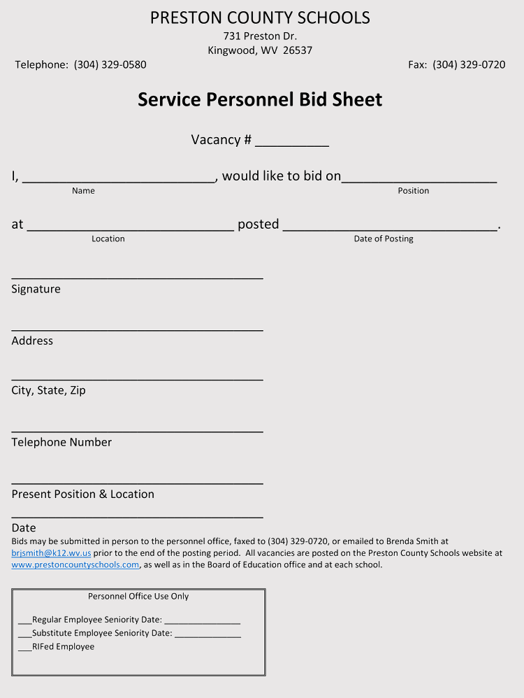 Silent Auction Bid Sheet Doc