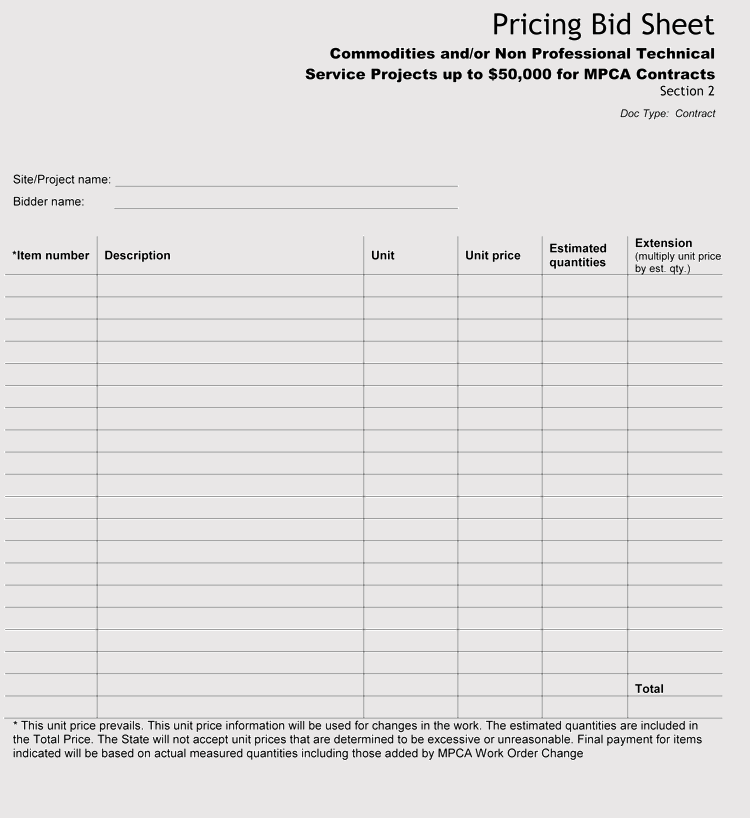 picture about Free Printable Bid Sheets referred to as 9+ No cost Bid Sheet Templates and Illustrations (Term, Excel)