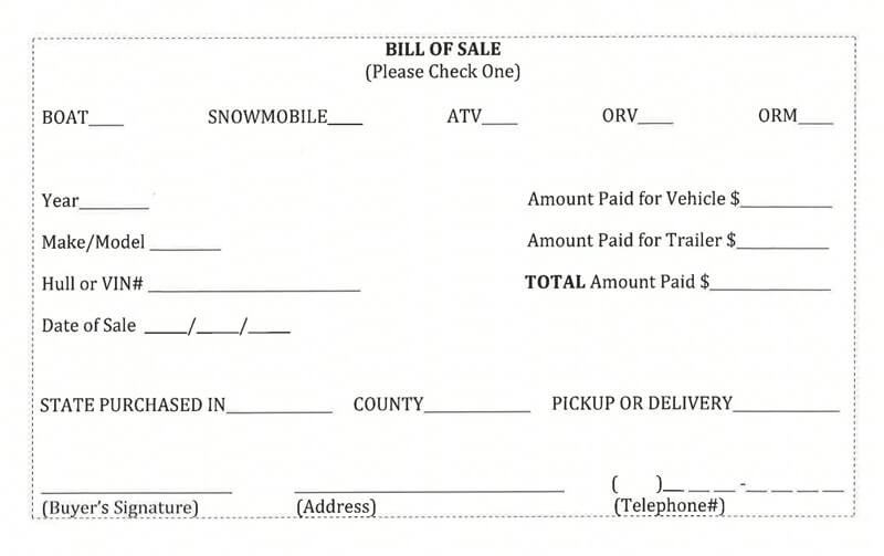 Bill of Sale Form for ATV