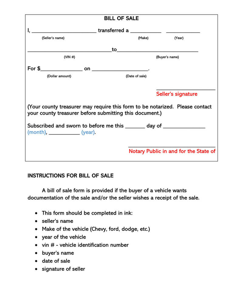 Bill of Sale Sample Form 01