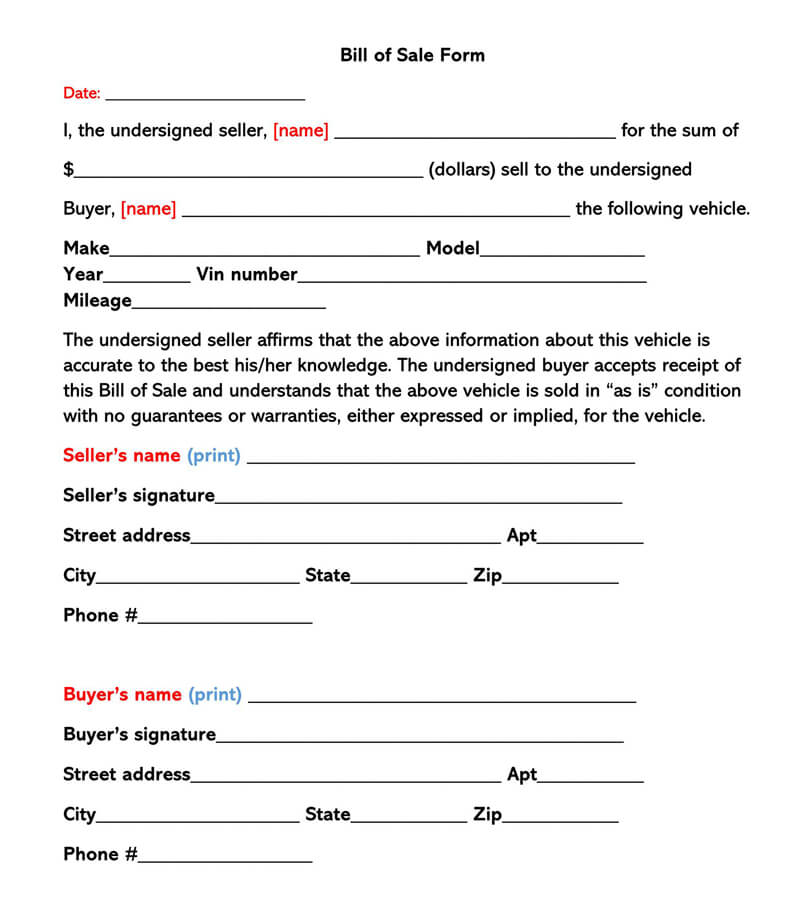 Bill of Sale Sample Form 02