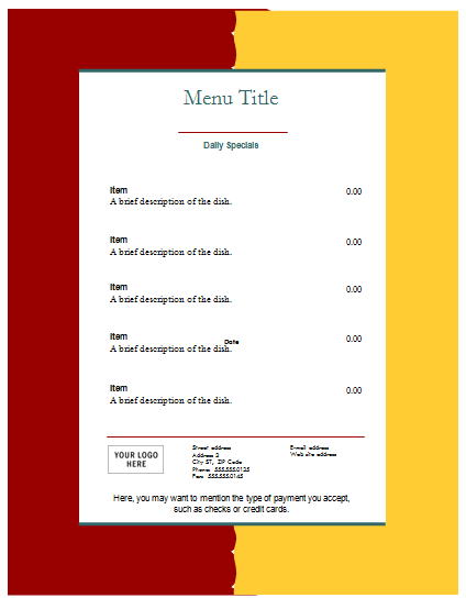 Blank Food Menu Template  Cafe Menu Template Word